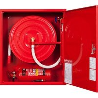 Hydrant wewnętrzny z miejscem na gaśnice pod spodem z wężem półsztywnym 25/20+G wnękowy czerwony wertykalny
