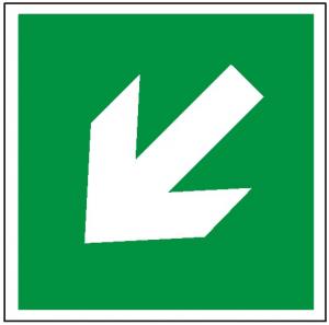 Znak kierunek drogi ewakuacyjnej strzałka skośna E00-2 (P.F.) 150x150
