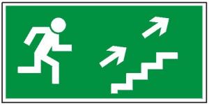 Kierunek do wyjścia drogi ewakuacyjnej schodami w górę na prawo 108 (FF)