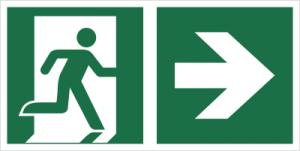 Znak łączony wyjście ewakuacyjne ze strzałką E02-PP P.F. 150X300