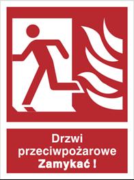 Znak Drzwi przeciwpożarowe zamykać ! Lewe 217-01 P.F. 150x200