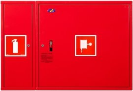 Hydrant wewnętrzny z miejscem na gaśnice obok z  wężem półsztywnym 25/30+G zawieszany czerwony