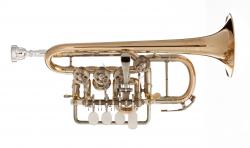 J. SCHERZER trąbka piccolo Bb/A 8111ST-1-0, lakierowana, czara i rurki ustn. sterling silver, z futerałem