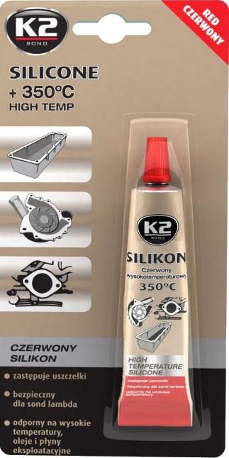 K2 B245 Silikon czerwony wys.temp.350C blister 21g