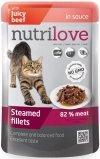 Nutrilove Premium Gotowane na parze delikatne fileciki z wołowiną w sosie dla kota 28x85g