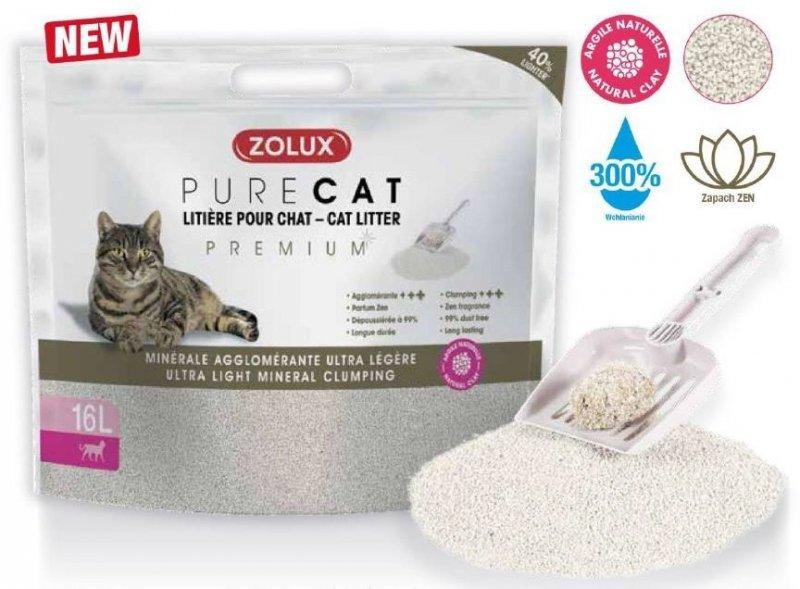 Zolux Pure Cat - Żwirek Premium mineralny dla kota - zbrylający i ultralekki 16l x 4 szt