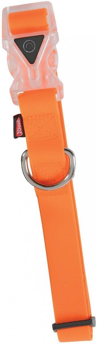 Zolux Obroża silikonowa świecąca - regulowana pomarańczowa 43-68cm/25mm