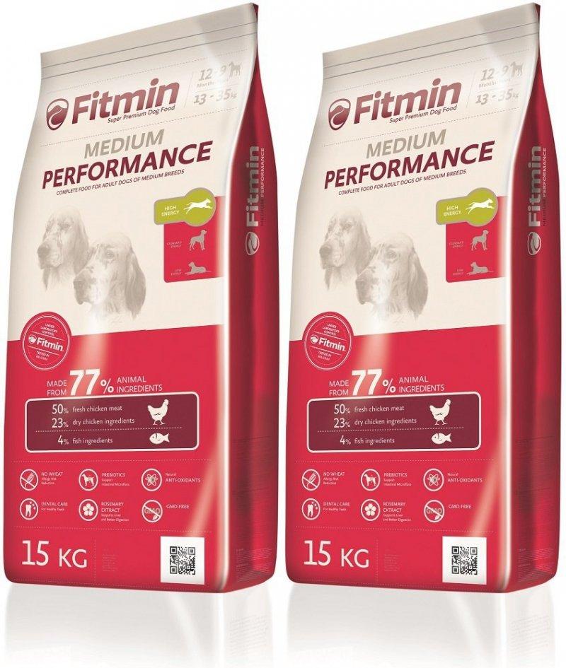 Fitmin Program Medium Performance - karma ze zwiększoną zawartością energii dla psów średnich ras 2x15kg (30kg)