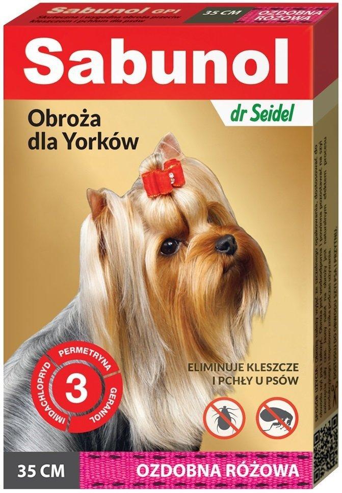 Sabunol Obroża przeciw pchłom i kleszczom dla psów 35cm - różowa