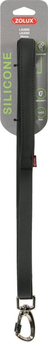 Zolux Smycz silikonowa - czarna 1,2m/20mm