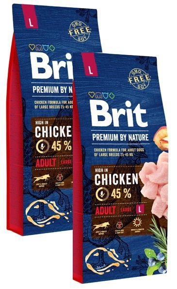 Brit Premium By Nature Large Adult L 2x15kg