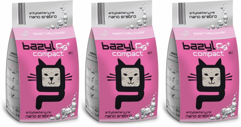 Bazyl Ag+ Compact Baby Powder - drobny żwirek o zapachu pudru z nanosrebrem 3x10l