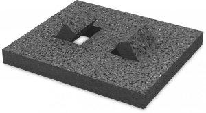K2 ochronne gumowe płyty pod szyny dachu płaskim, 160x180x18 mm z folią aluminiową (dla izolacji PVC)