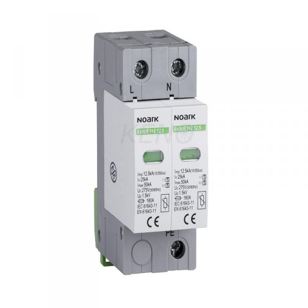 Ogranicznik przepięć typ I+II, 275 V AC, 12,5 kA, wymienna wkładka, 2-bieg.