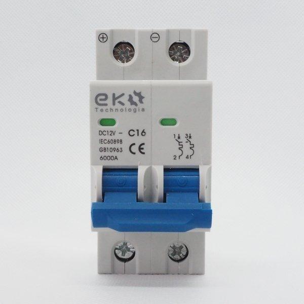 Wyłącznik nadprądowy 2P C 16A 6kA 12V DC