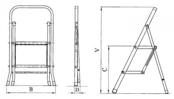 Drabina domowa stalowa szerokostopniowa ORW03