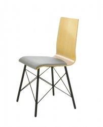 LUKA PS X krzesło ze sklejki, metalowa rama szara tapicerka