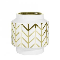 Wazon dekoracyjny EMERA3 15X16 Biały+Złoty