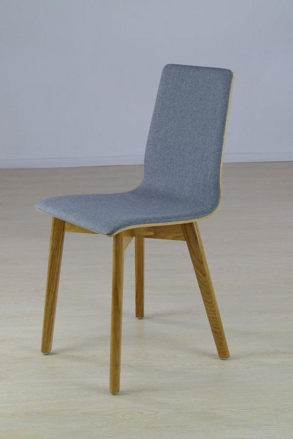 LUKA SOFT W -  krzesło dębowe, jasno szara tkanina