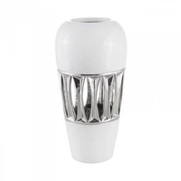 LIRIO Wazon 03 15X15X31 Biały+Srebrny