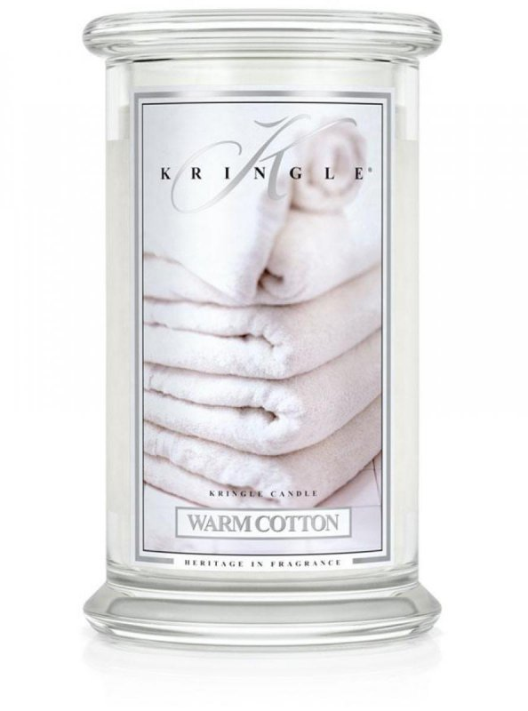 Kringle Candle - Warm Cotton - duży, klasyczny słoik (623g) z 2 knotami