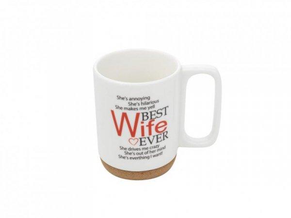 KUBEK NA KORKOWEJ PODSTAWCE BEST WIFE 280 ML