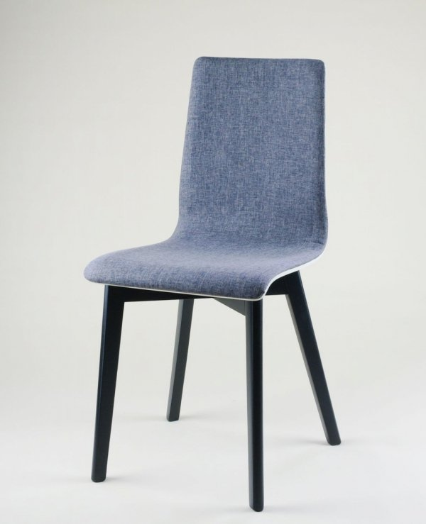 LUKA SOFT W -  krzesło drewniane biało-szare, czarna rama