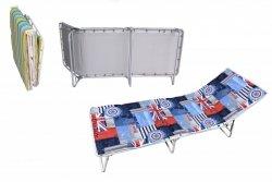 Łóżko polowe IBIZA  z regulowanym zagłówkiem i materacem 3cm