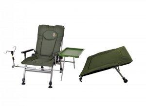 Fotel wędkarski CARP F5R STP ze stolikiem, uchwytem na wędkę i podnóżkiem