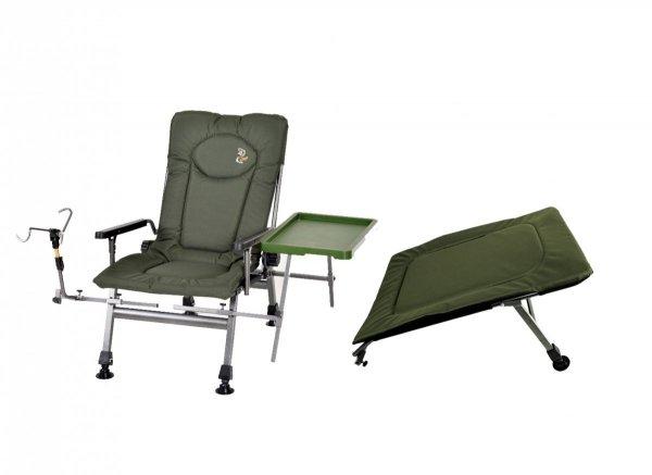 Zestaw Fotel F-5R STP ze stolikiem i uchwytem na wędkę i podnóżek