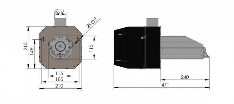 Rysunek palnik basic rynnowy 5-20 kw