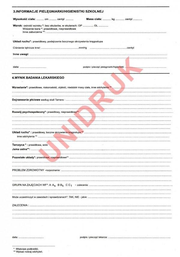 Karta profilaktycznego badania lekarskiego ucznia klasy III SP
