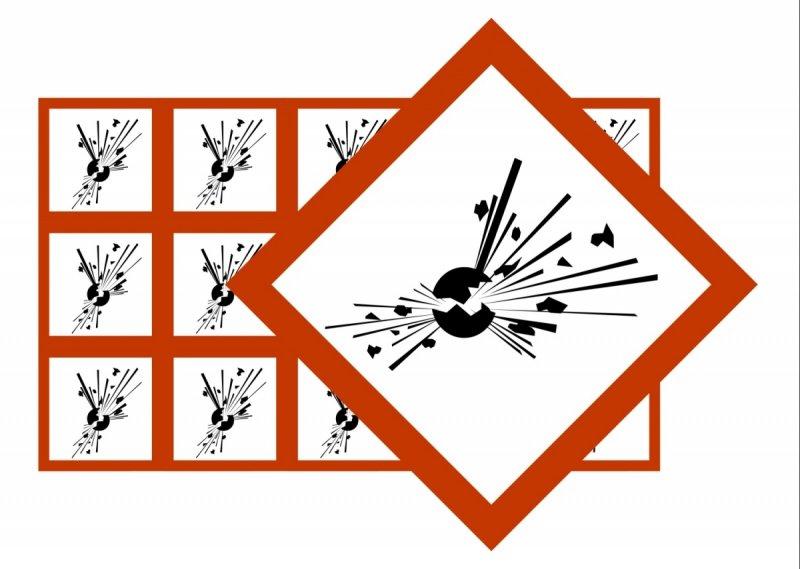 Naklejki BHP GHS01 Substancje Wybuchowe
