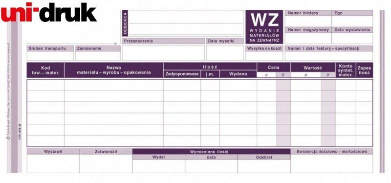 Druk WZ - wydanie materiałów na zewnątrz 351-8