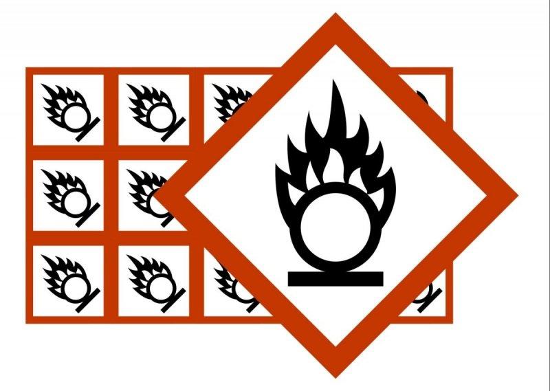 Naklejki BHP GHS03 Substancje Utleniające