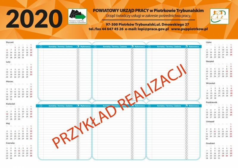 Kalendarz biurkowy A2 BIUWAR