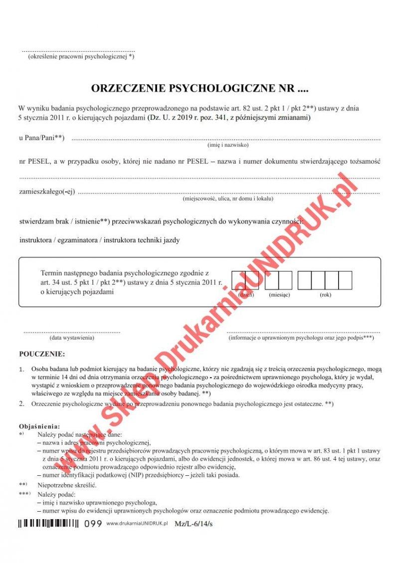 Orzeczenie psychologiczne dla instruktorów/egzaminatorów - druk
