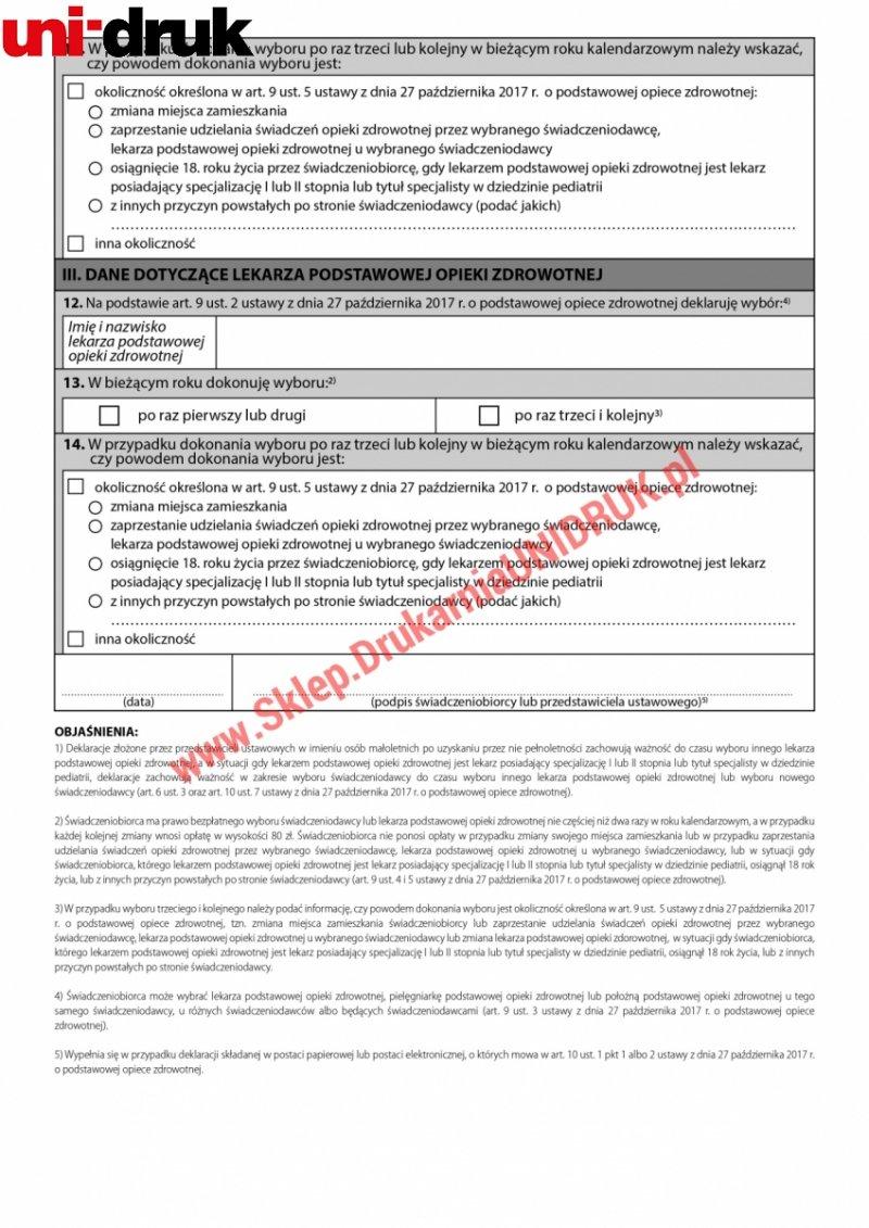 Deklaracja wyboru świadczeniodawcy - lekarz - druk