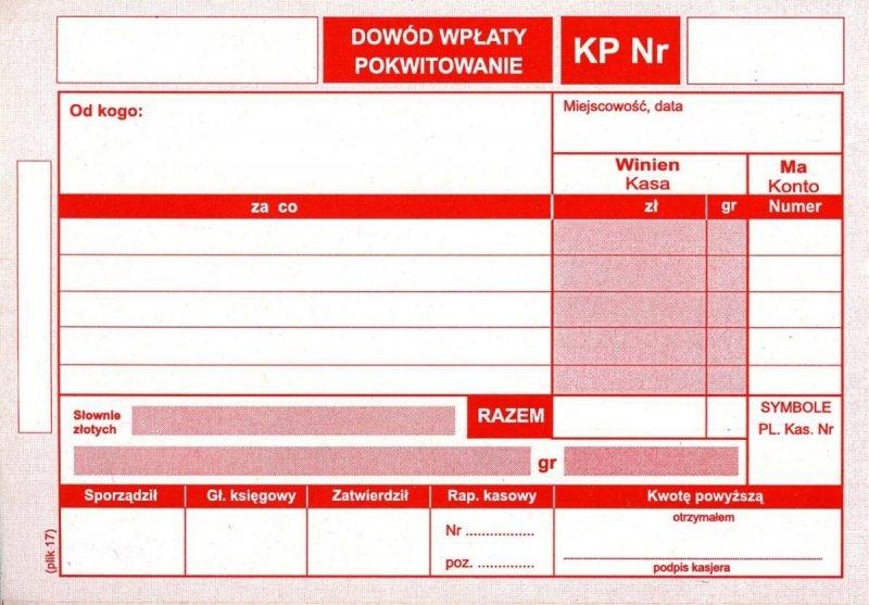 Druk KP - kasa przyjmie 2 kopie