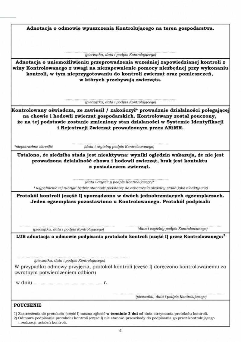 Lista kontrolna SPIWET-ASF 2 poza obszarami  - A4