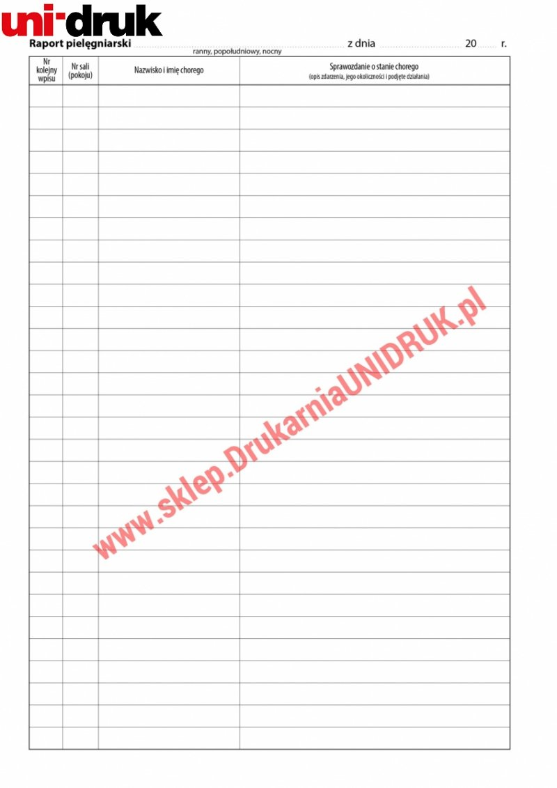 Książka raportów pielęgniarskich A4 - 100 kart