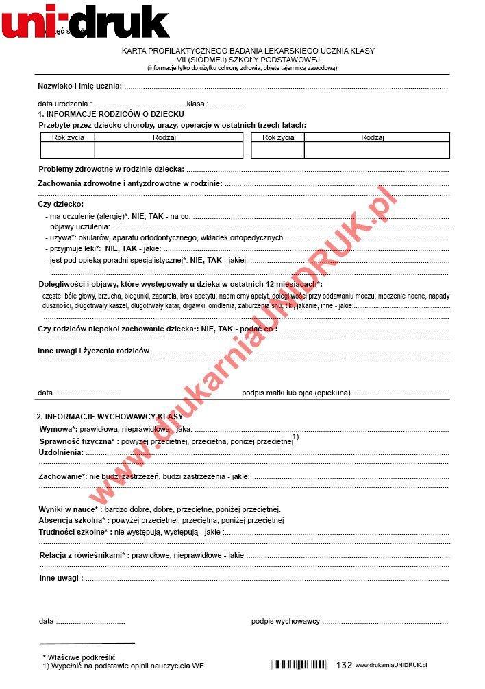 Karta profilaktycznego badania lekarskiego ucznia klasy VII SP A-5