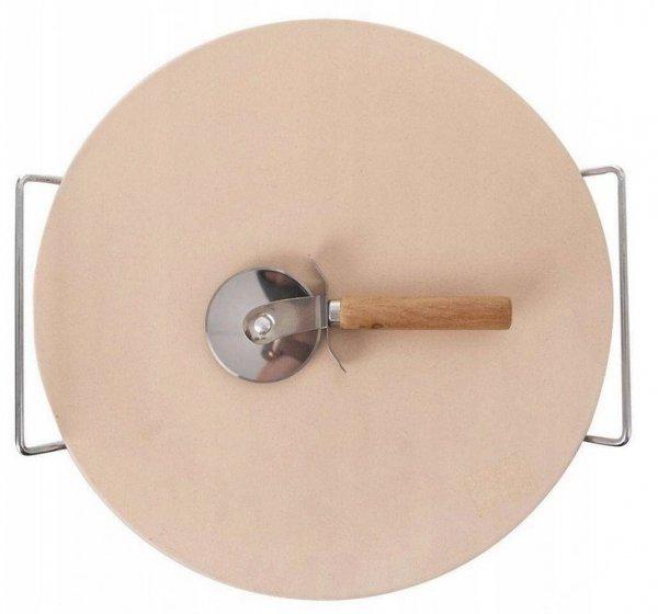 Kamień do PIECZENIA PIZZY chleba forma stojak nóż nożyk
