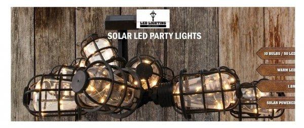 Girlanda SOLAR 50 LED 10 ŻARÓWEK LOFT balkon ogród