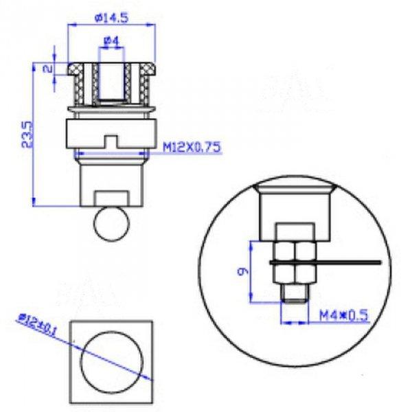 Gniazdo panelowe bezp. 4mm GLP301-BK 32A CAT II 1000V