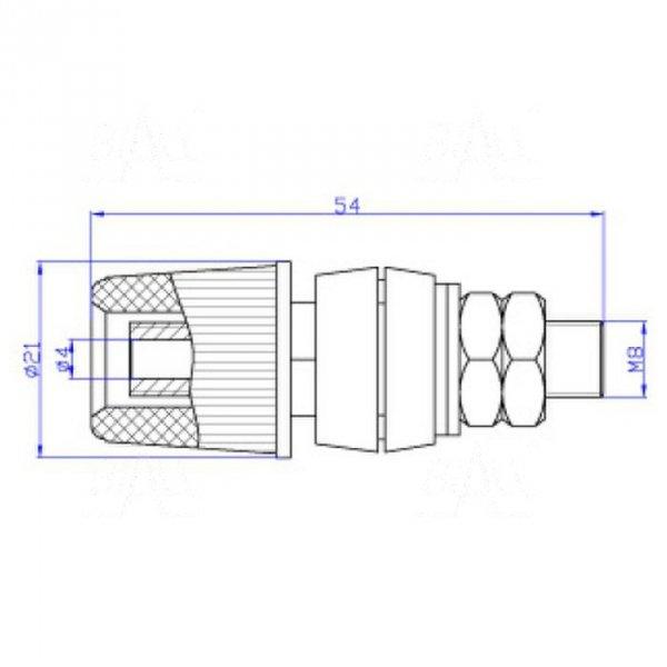 Gniazdo lab. 4mm z zaciskiem GLZ933-R 60A, czerwone
