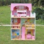 Domek dla lalek Drewniany Melisa Piętrowy Różowy #C1