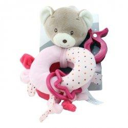 Grzechotka New Baby Miś z dodatkami różowy 16 cm