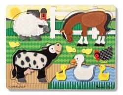 Melissa & Doug Puzzle drewniane Poczuj i Dotknij - Farma