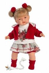 Llorens Lalka płacząca Joelle blondynka czerwona bluza i gumki 38556 38 cm